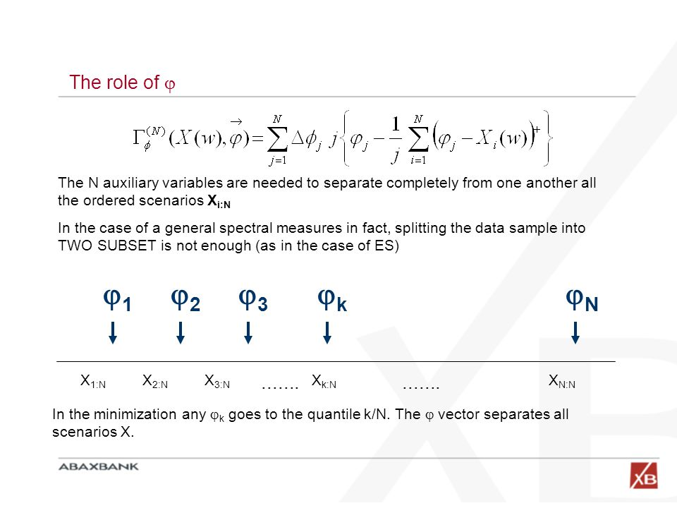 The role of  The N auxiliary variables are needed to separate completely from one another all the ordered scenarios X i:N In the case of a general sp