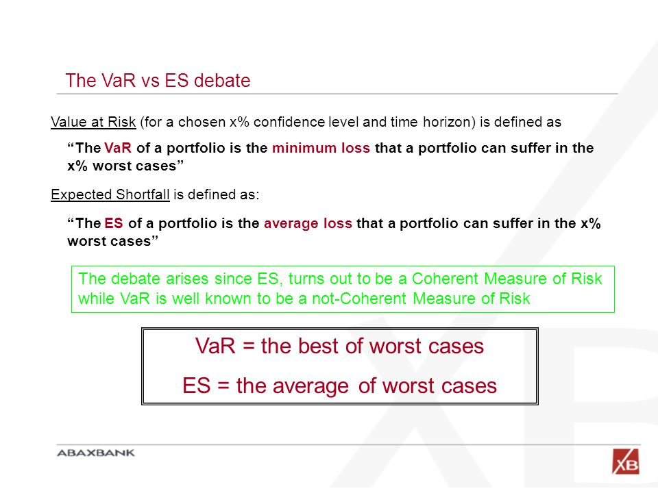 """The VaR vs ES debate Value at Risk (for a chosen x% confidence level and time horizon) is defined as """"The VaR of a portfolio is the minimum loss that"""