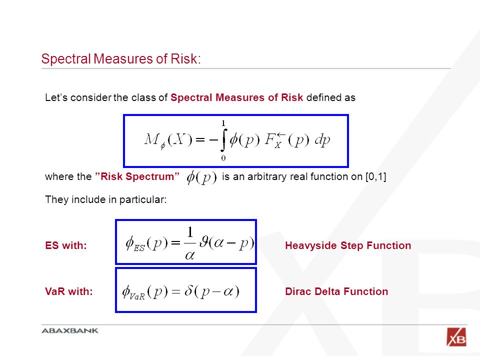 """Spectral Measures of Risk: Let's consider the class of Spectral Measures of Risk defined as where the """"Risk Spectrum"""" is an arbitrary real function on"""
