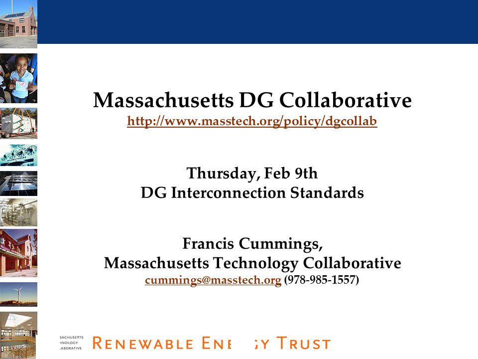 1 Massachusetts DG Collaborative Proceeding: D.T.E.