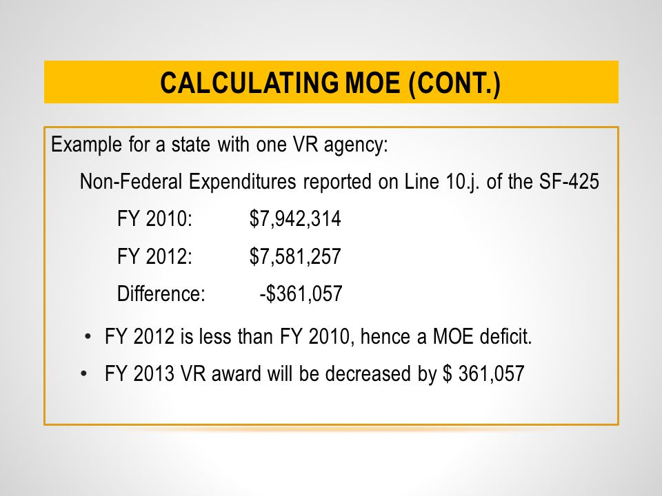 CALCULATING MOE (CONT.) Example for a state with one VR agency: Non-Federal Expenditures reported on Line 10.j.