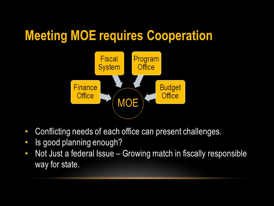 Meeting MOE requires Cooperation Conflicting needs of each office can present challenges.