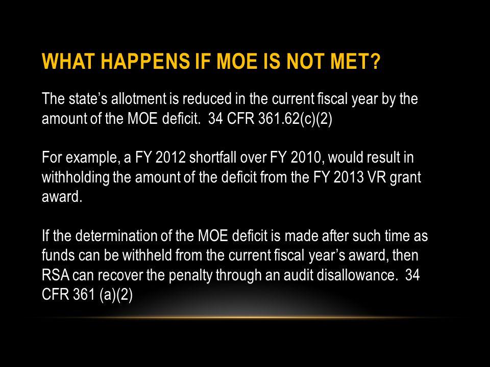 WHAT HAPPENS IF MOE IS NOT MET.