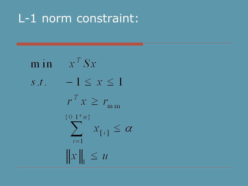 L-1 norm constraint: