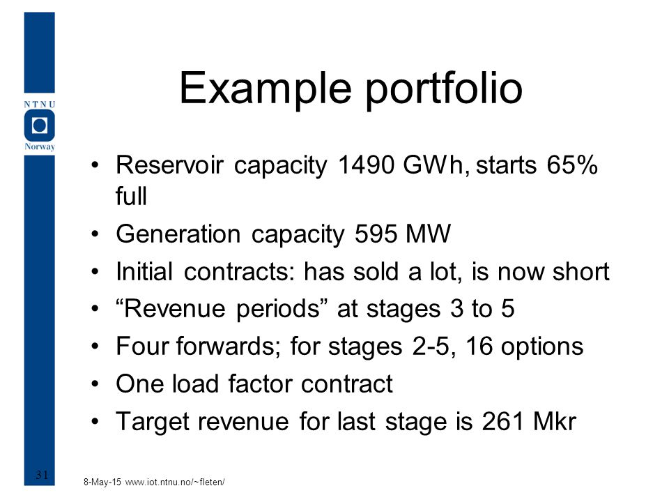 8-May-15 www.iot.ntnu.no/~fleten/ 31 Example portfolio Reservoir capacity 1490 GWh, starts 65% full Generation capacity 595 MW Initial contracts: has