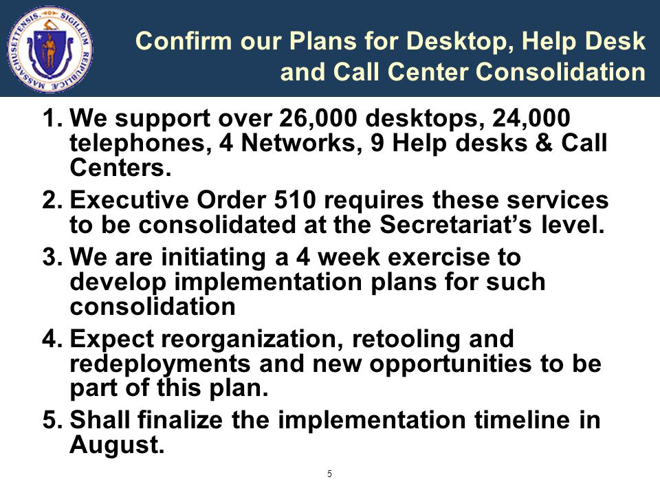 5 Confirm our Plans for Desktop, Help Desk and Call Center Consolidation 1.We support over 26,000 desktops, 24,000 telephones, 4 Networks, 9 Help desks & Call Centers.
