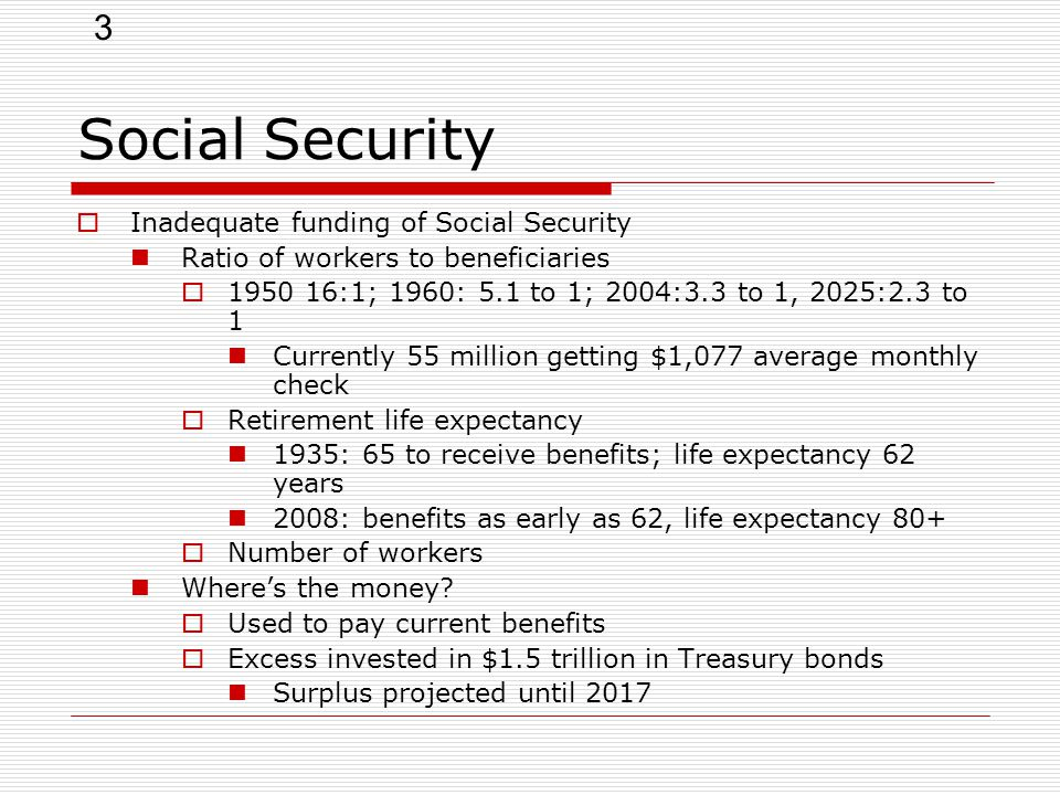 3 Social Security  Inadequate funding of Social Security Ratio of workers to beneficiaries  1950 16:1; 1960: 5.1 to 1; 2004:3.3 to 1, 2025:2.3 to 1 Currently 55 million getting $1,077 average monthly check  Retirement life expectancy 1935: 65 to receive benefits; life expectancy 62 years 2008: benefits as early as 62, life expectancy 80+  Number of workers Where's the money.
