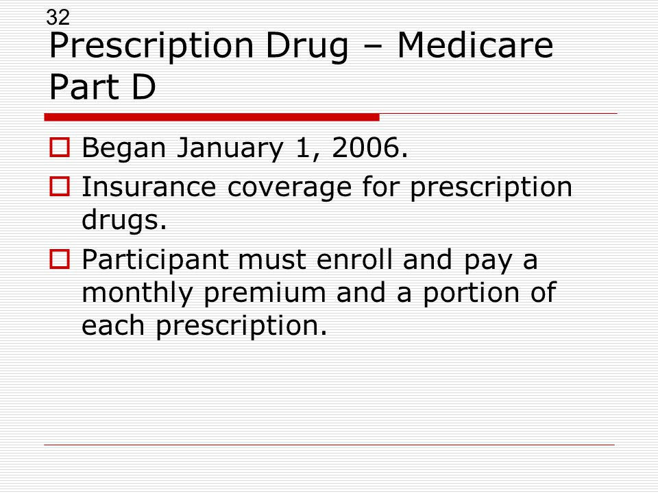32 Prescription Drug – Medicare Part D  Began January 1, 2006.
