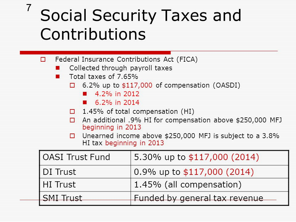 7 Social Security Taxes and Contributions  Federal Insurance Contributions Act (FICA) Collected through payroll taxes Total taxes of 7.65%  6.2% up to $117,000 of compensation (OASDI) 4.2% in 2012 6.2% in 2014  1.45% of total compensation (HI)  An additional.9% HI for compensation above $250,000 MFJ beginning in 2013  Unearned income above $250,000 MFJ is subject to a 3.8% HI tax beginning in 2013 OASI Trust Fund5.30% up to $117,000 (2014) DI Trust0.9% up to $117,000 (2014) HI Trust1.45% (all compensation) SMI TrustFunded by general tax revenue