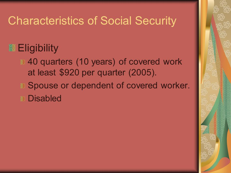 Characteristics of Social Security Revenues Payroll tax rates: 6.2% employer and 6.2% employee.
