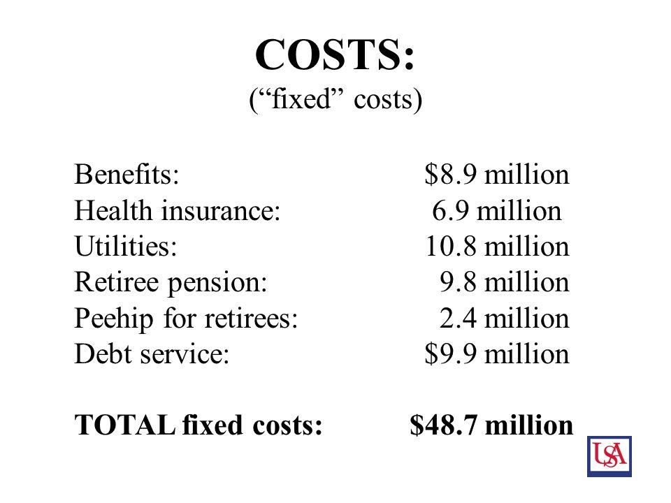 12 COSTS: ( fixed costs) Benefits: $8.9 million Health insurance: 6.9 million Utilities: 10.8 million Retiree pension: 9.8 million Peehip for retirees: 2.4 million Debt service: $9.9 million TOTAL fixed costs:$48.7 million