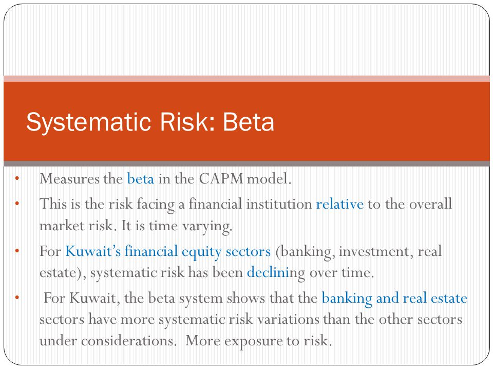 Measures the beta in the CAPM model. This is the risk facing a financial institution relative to the overall market risk. It is time varying. For Kuwa