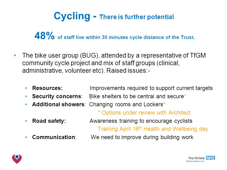 The Christie NHS Foundation Trust Cycling - There is further potential 48% of staff live within 30 minutes cycle distance of the Trust.