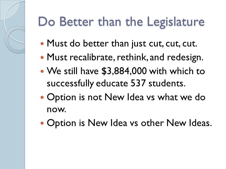 Do Better than the Legislature Must do better than just cut, cut, cut.