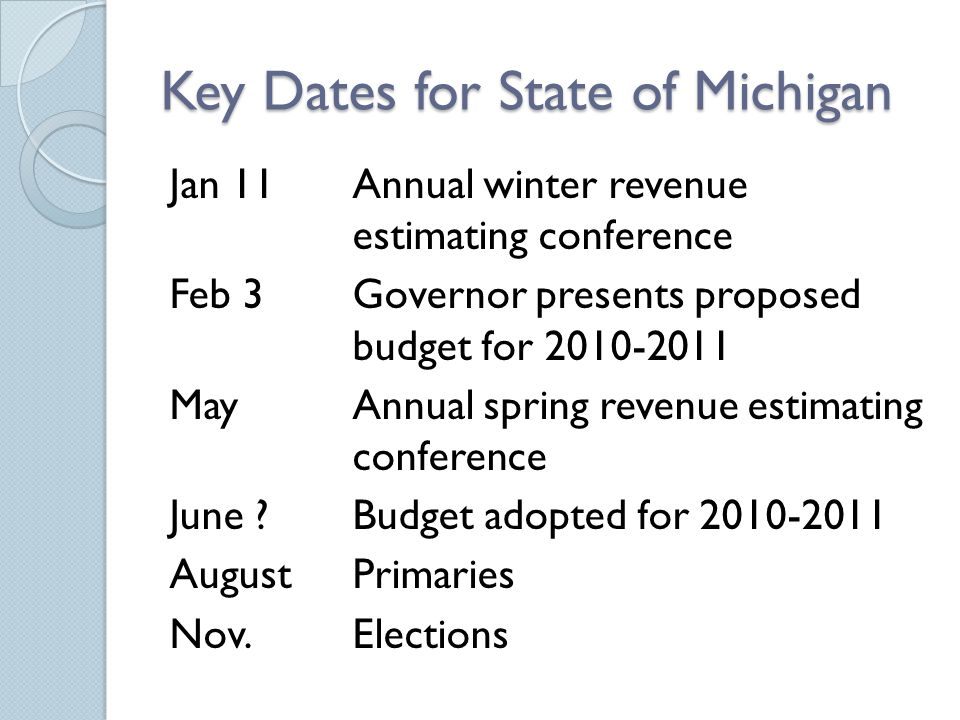Key Dates for State of Michigan Jan 11Annual winter revenue estimating conference Feb 3Governor presents proposed budget for 2010-2011 MayAnnual spring revenue estimating conference June Budget adopted for 2010-2011 AugustPrimaries Nov.Elections