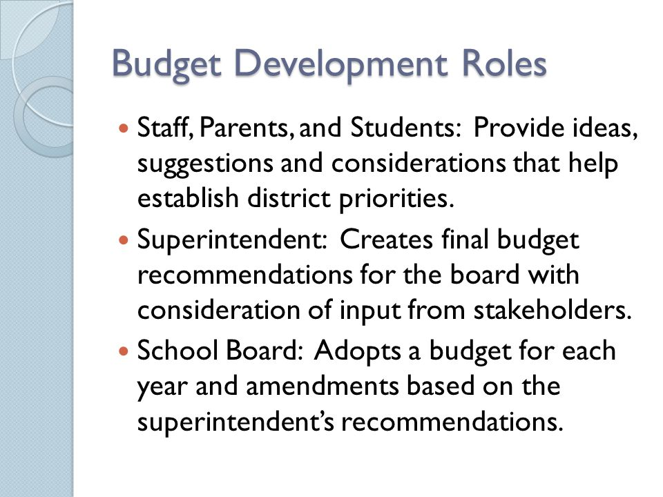 Budget Development Roles Staff, Parents, and Students: Provide ideas, suggestions and considerations that help establish district priorities. Superint
