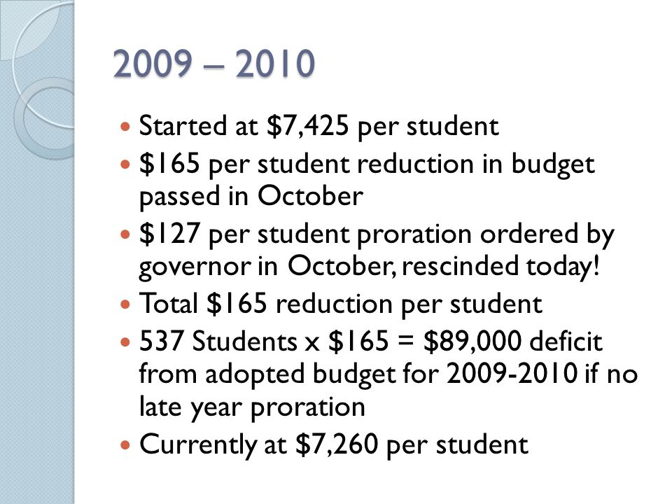 2010 - 2011 Starting at $7,260 per student.$282 provided by stimulus $ no longer available.