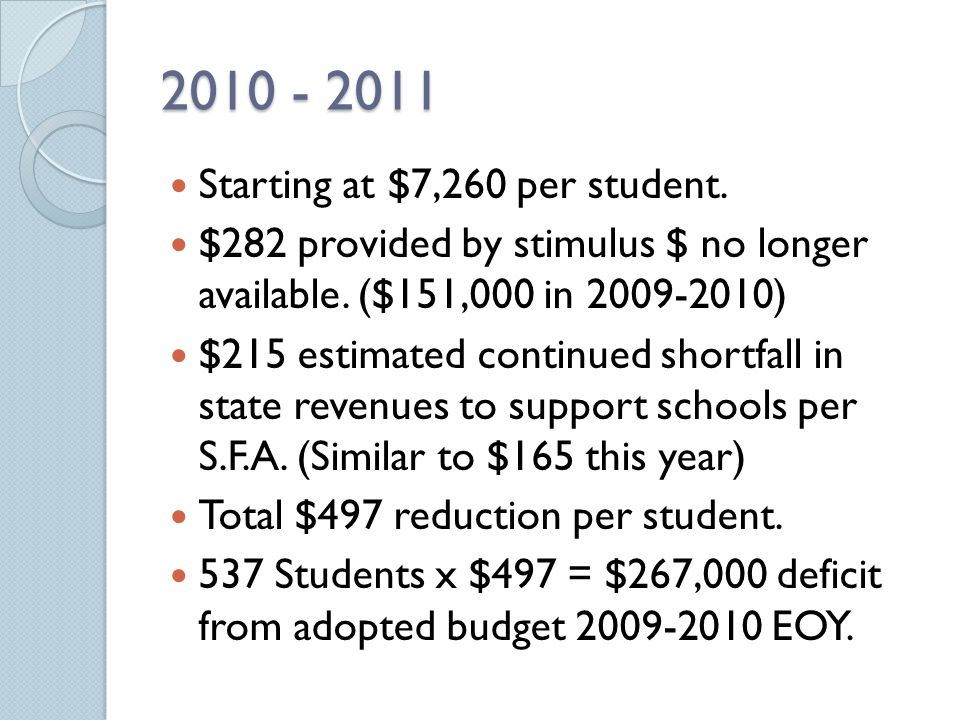 2010 - 2011 Starting at $7,260 per student. $282 provided by stimulus $ no longer available. ($151,000 in 2009-2010) $215 estimated continued shortfal