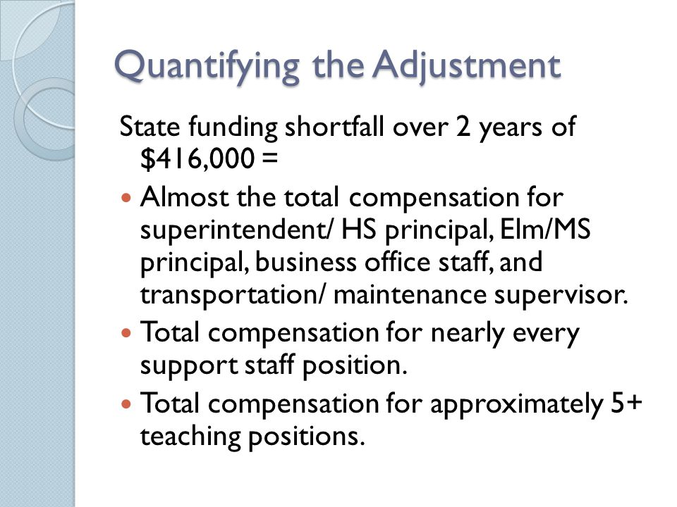 Quantifying the Adjustment State funding shortfall over 2 years of $416,000 = Almost the total compensation for superintendent/ HS principal, Elm/MS p