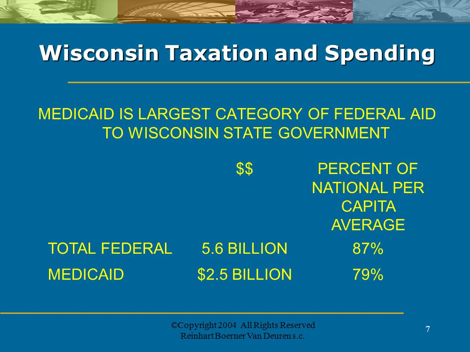 ©Copyright 2004 All Rights Reserved Reinhart Boerner Van Deuren s.c. 7 Wisconsin Taxation and Spending MEDICAID IS LARGEST CATEGORY OF FEDERAL AID TO