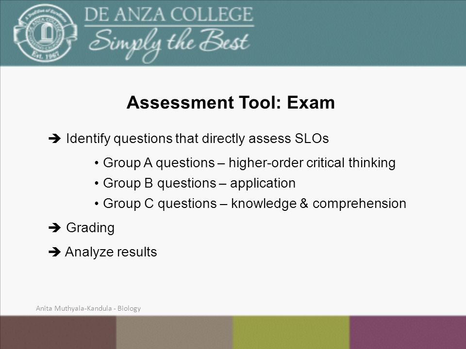 Assessment Tool: Exam  Identify questions that directly assess SLOs Group A questions – higher-order critical thinking Group B questions – application Group C questions – knowledge & comprehension  Grading  Analyze results Anita Muthyala-Kandula - Biology