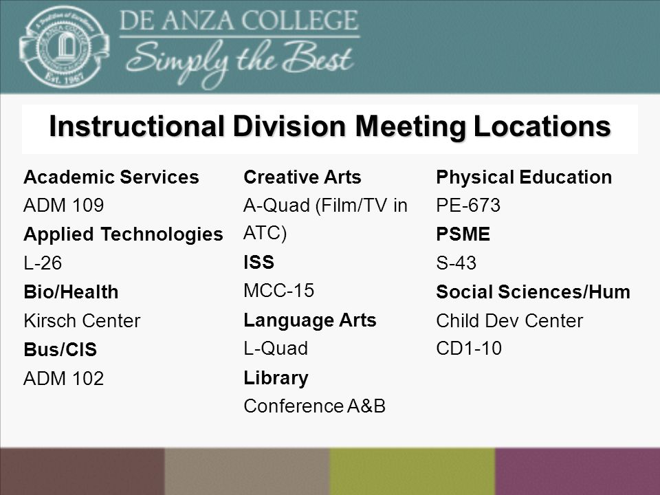 Instructional Division Meeting Locations Academic Services ADM 109 Applied Technologies L-26 Bio/Health Kirsch Center Bus/CIS ADM 102 Creative Arts A-Quad (Film/TV in ATC) ISS MCC-15 Language Arts L-Quad Library Conference A&B Physical Education PE-673 PSME S-43 Social Sciences/Hum Child Dev Center CD1-10