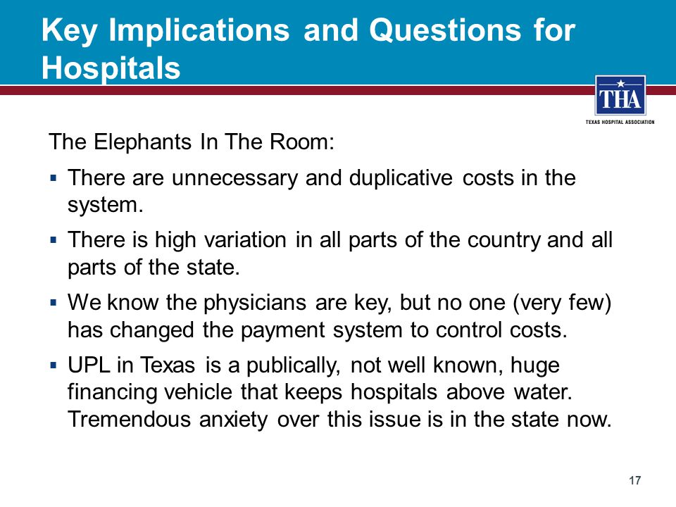 Key Implications and Questions for Hospitals The Elephants In The Room:  There are unnecessary and duplicative costs in the system.