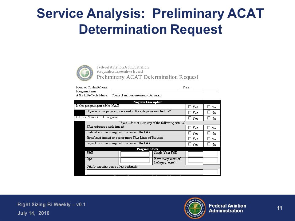 11 Federal Aviation Administration Right Sizing Bi-Weekly – v0.1 July 14, 2010 Service Analysis: Preliminary ACAT Determination Request