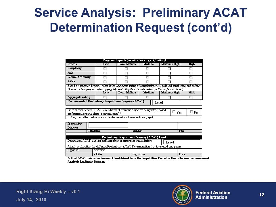 12 Federal Aviation Administration Right Sizing Bi-Weekly – v0.1 July 14, 2010 Service Analysis: Preliminary ACAT Determination Request (cont'd)