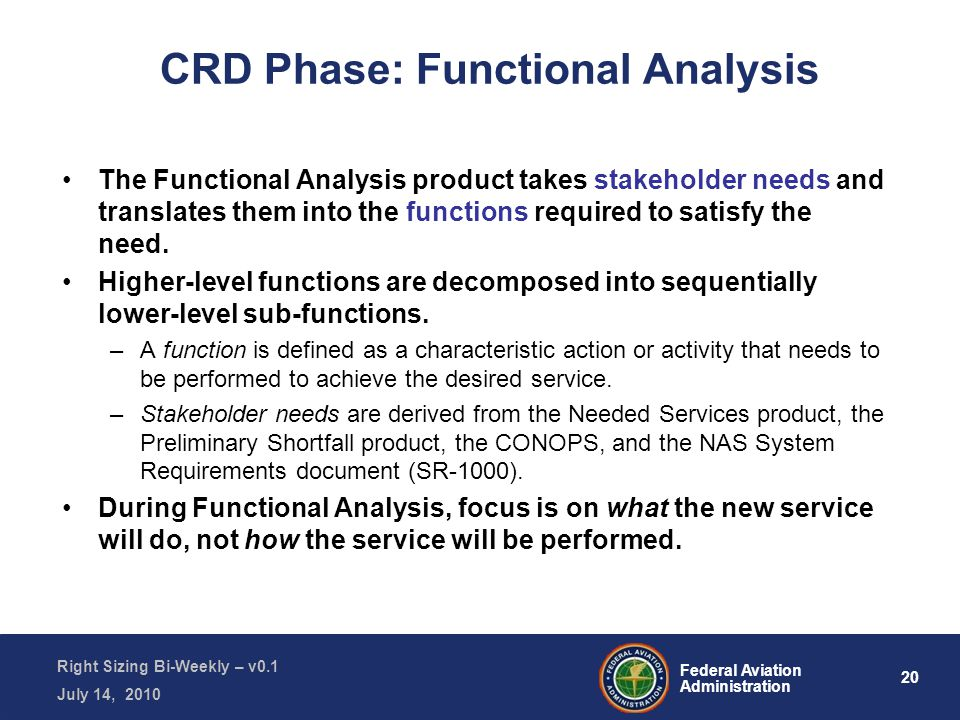 20 Federal Aviation Administration Right Sizing Bi-Weekly – v0.1 July 14, 2010 CRD Phase: Functional Analysis The Functional Analysis product takes stakeholder needs and translates them into the functions required to satisfy the need.