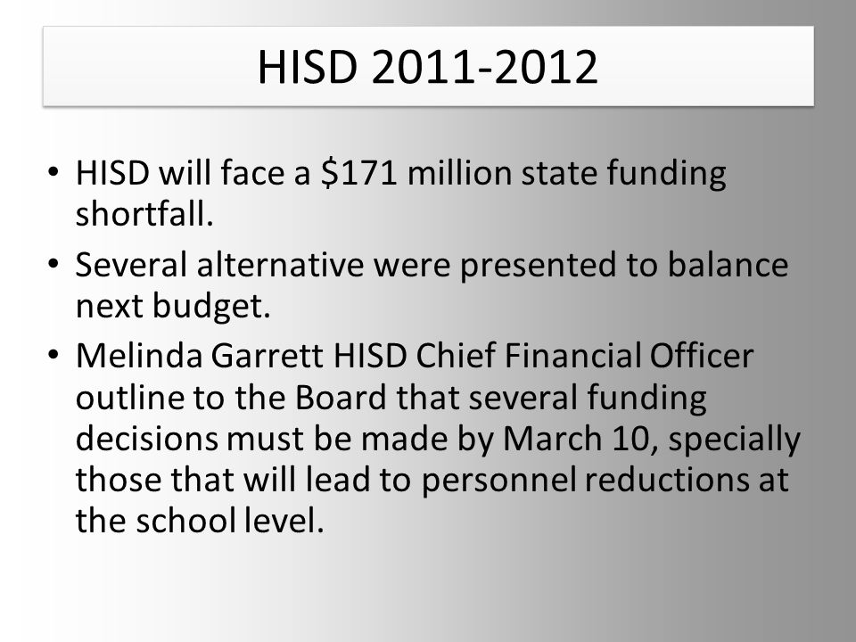 HISD 2011-2012 HISD will face a $171 million state funding shortfall.