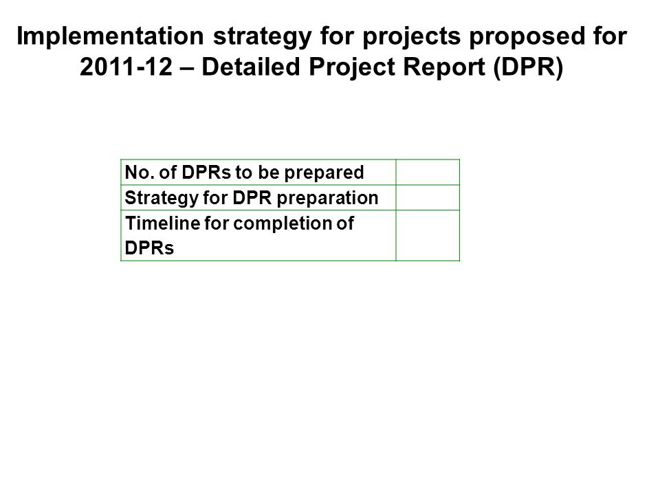 Implementation strategy for projects proposed for 2011-12 – Detailed Project Report (DPR) No. of DPRs to be prepared Strategy for DPR preparation Time