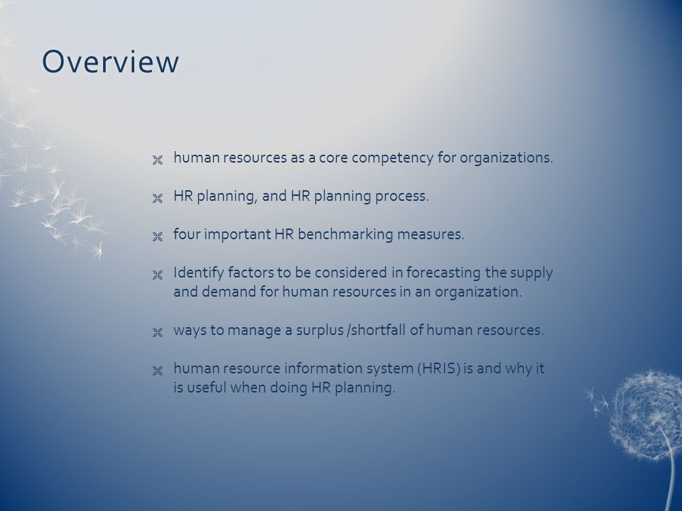 Overview  human resources as a core competency for organizations.