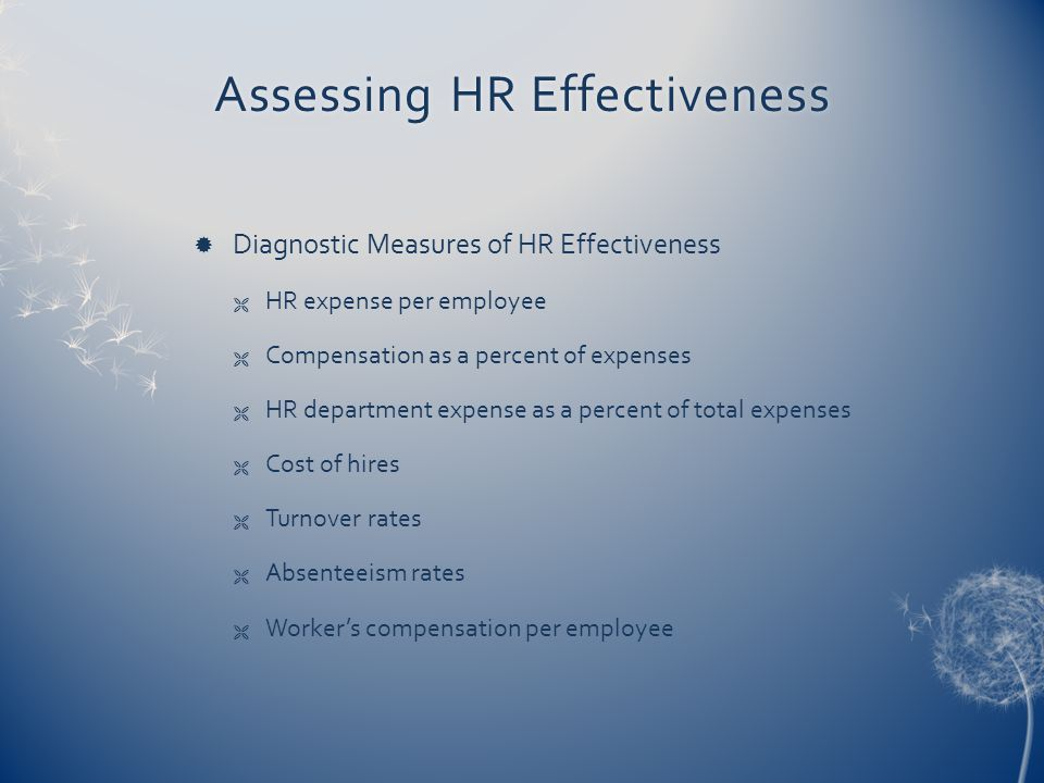 Assessing HR EffectivenessAssessing HR Effectiveness  Diagnostic Measures of HR Effectiveness  HR expense per employee  Compensation as a percent of expenses  HR department expense as a percent of total expenses  Cost of hires  Turnover rates  Absenteeism rates  Worker's compensation per employee