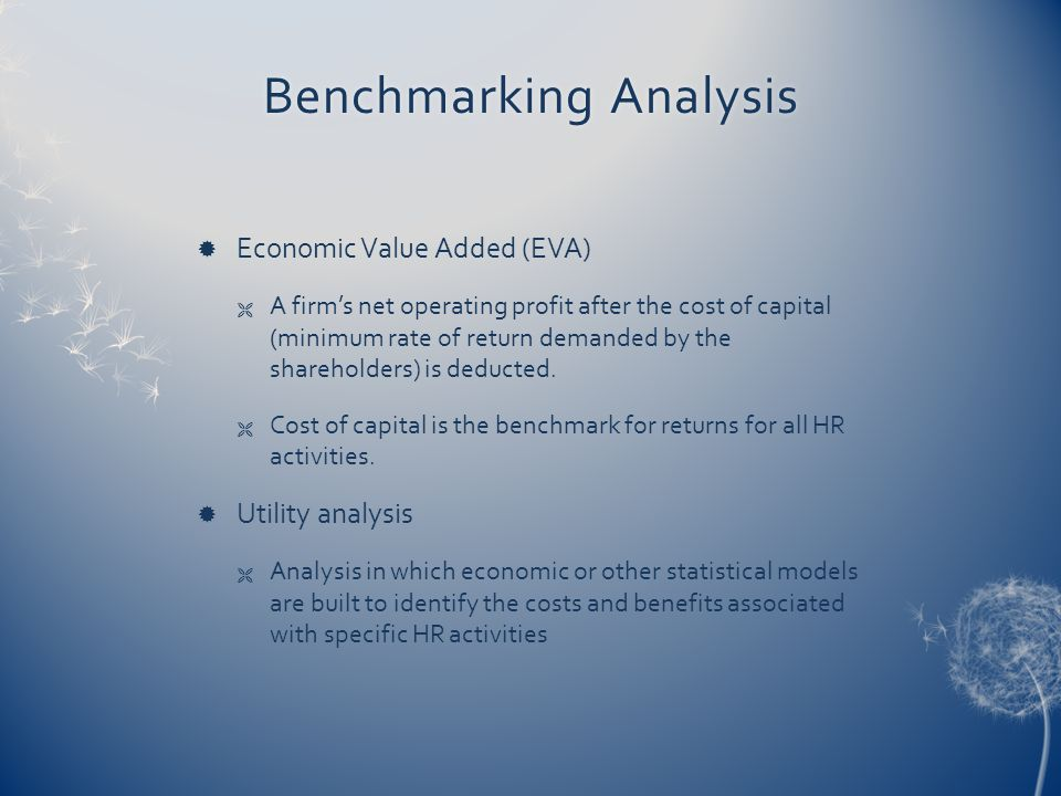 Benchmarking AnalysisBenchmarking Analysis  Economic Value Added (EVA)  A firm's net operating profit after the cost of capital (minimum rate of return demanded by the shareholders) is deducted.