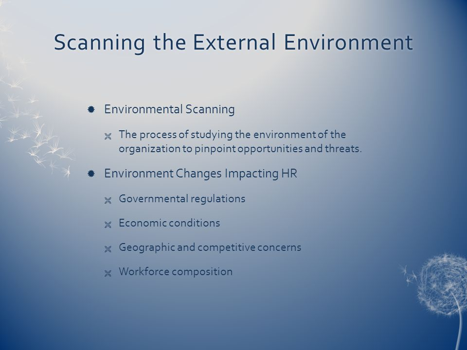 Scanning the External EnvironmentScanning the External Environment  Environmental Scanning  The process of studying the environment of the organization to pinpoint opportunities and threats.