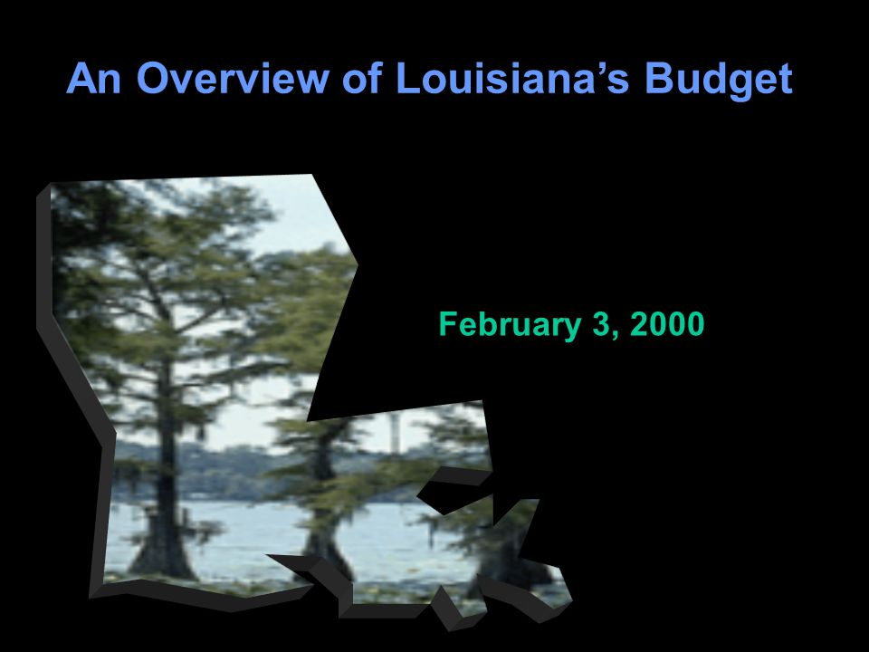 1 An Overview of Louisiana's Budget February 3, 2000