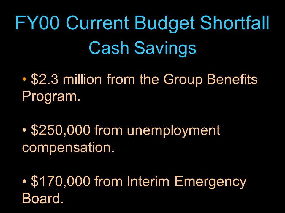 24 FY00 Current Budget Shortfall Cash Savings $2.3 million from the Group Benefits Program.