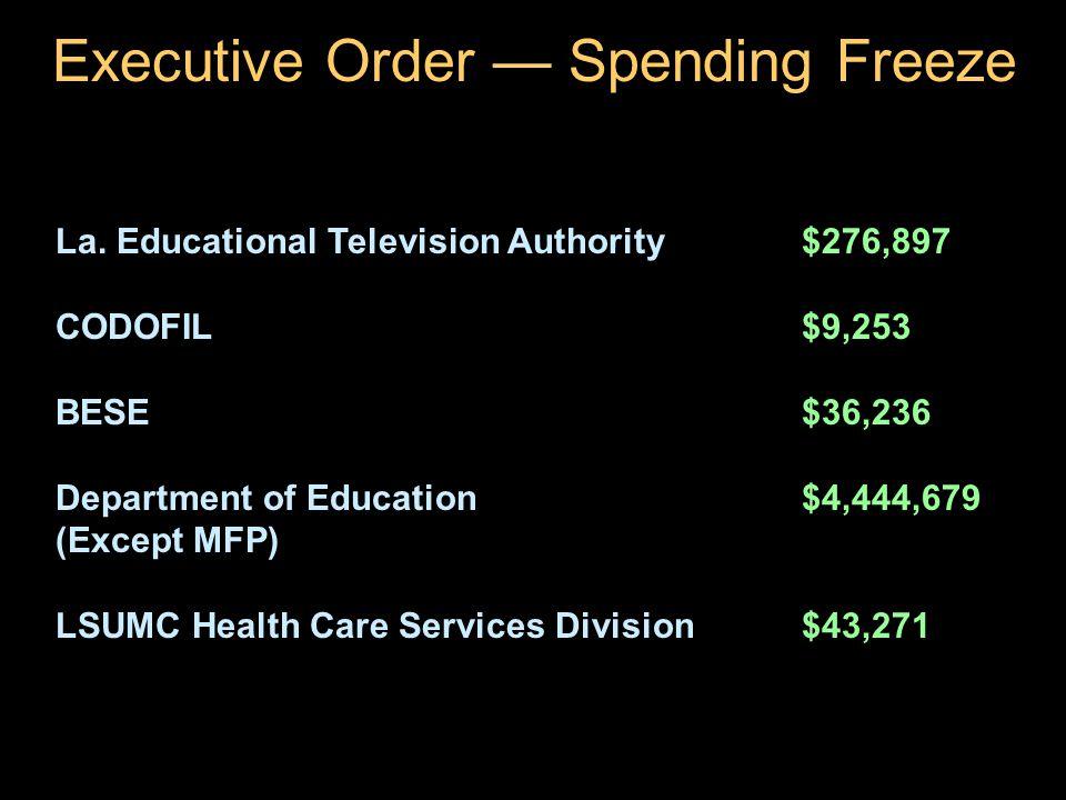 29 Executive Order — Spending Freeze La.