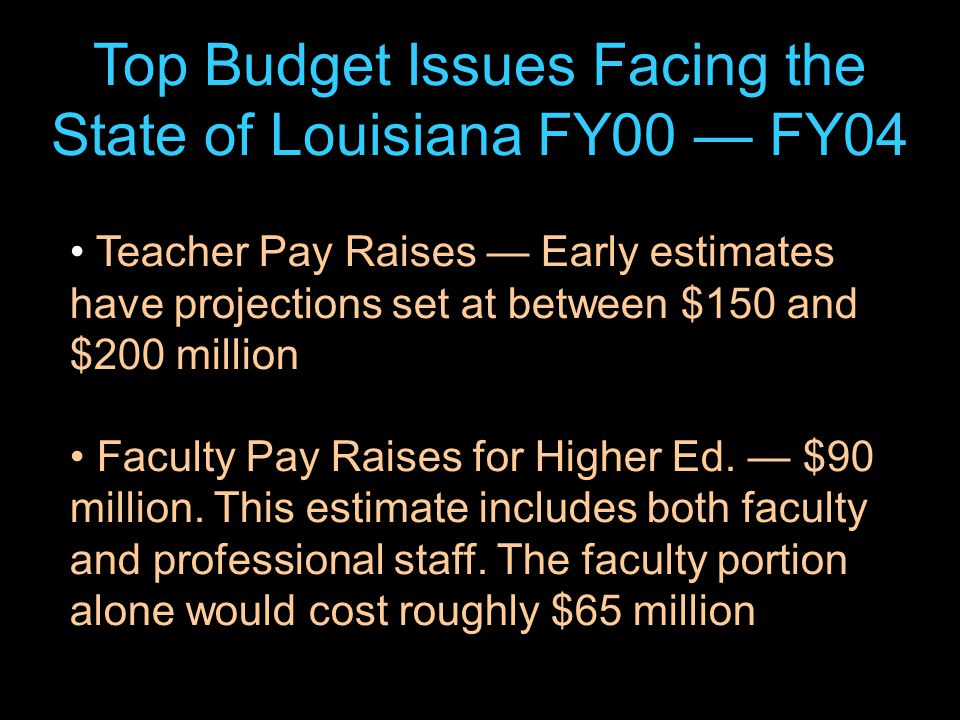 38 Top Budget Issues Facing the State of Louisiana FY00 — FY04 Teacher Pay Raises — Early estimates have projections set at between $150 and $200 million Faculty Pay Raises for Higher Ed.