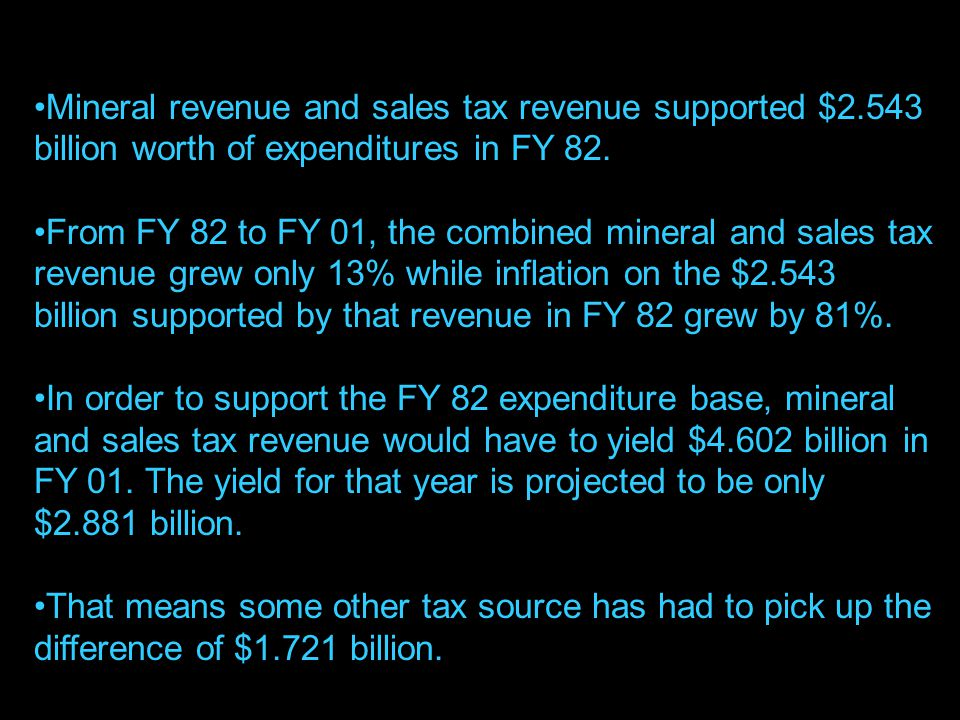 8 Mineral revenue and sales tax revenue supported $2.543 billion worth of expenditures in FY 82.