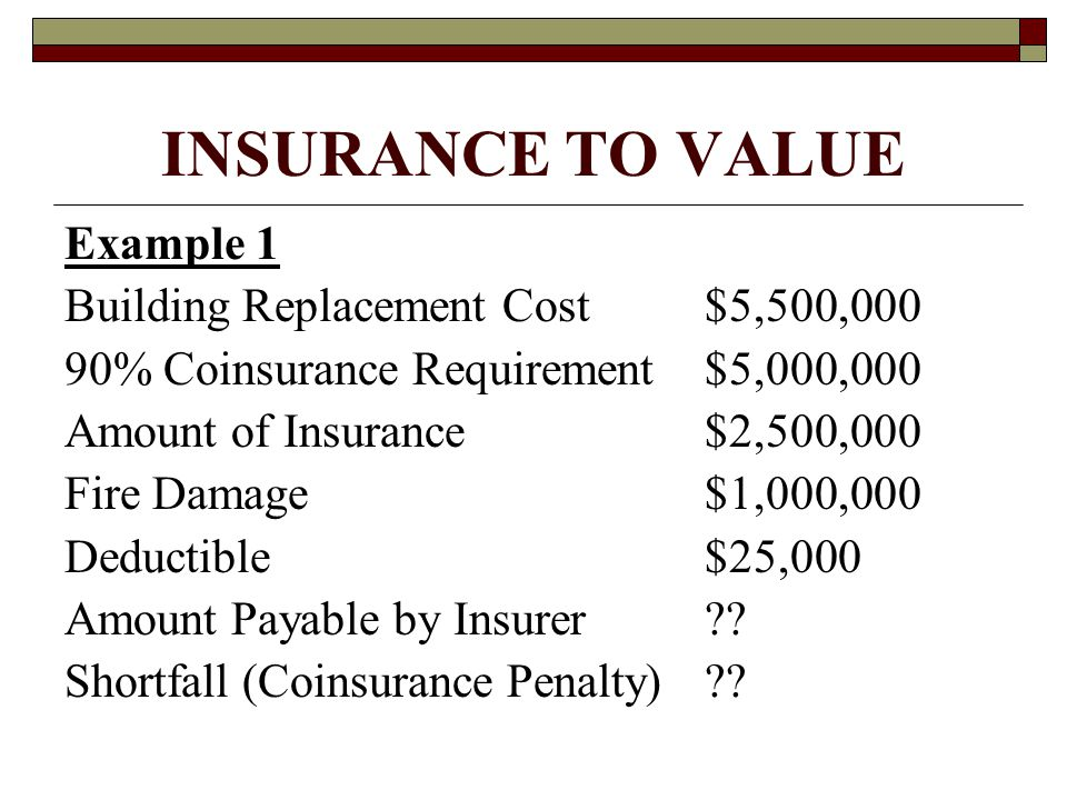 INSURANCE TO VALUE Example 1 Building Replacement Cost$5,500,000 90% Coinsurance Requirement$5,000,000 Amount of Insurance$2,500,000 Fire Damage$1,000,000 Deductible$25,000 Amount Payable by Insurer .
