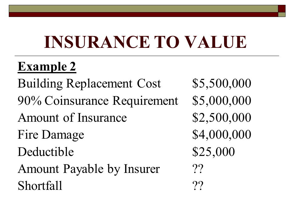 INSURANCE TO VALUE Example 2 Building Replacement Cost$5,500,000 90% Coinsurance Requirement$5,000,000 Amount of Insurance$2,500,000 Fire Damage$4,000,000 Deductible$25,000 Amount Payable by Insurer?.