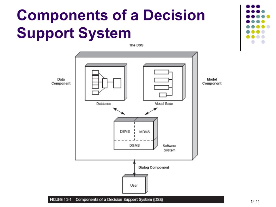 © 2009 Pearson Education, Inc. Publishing as Prentice Hall 12-11 Components of a Decision Support System