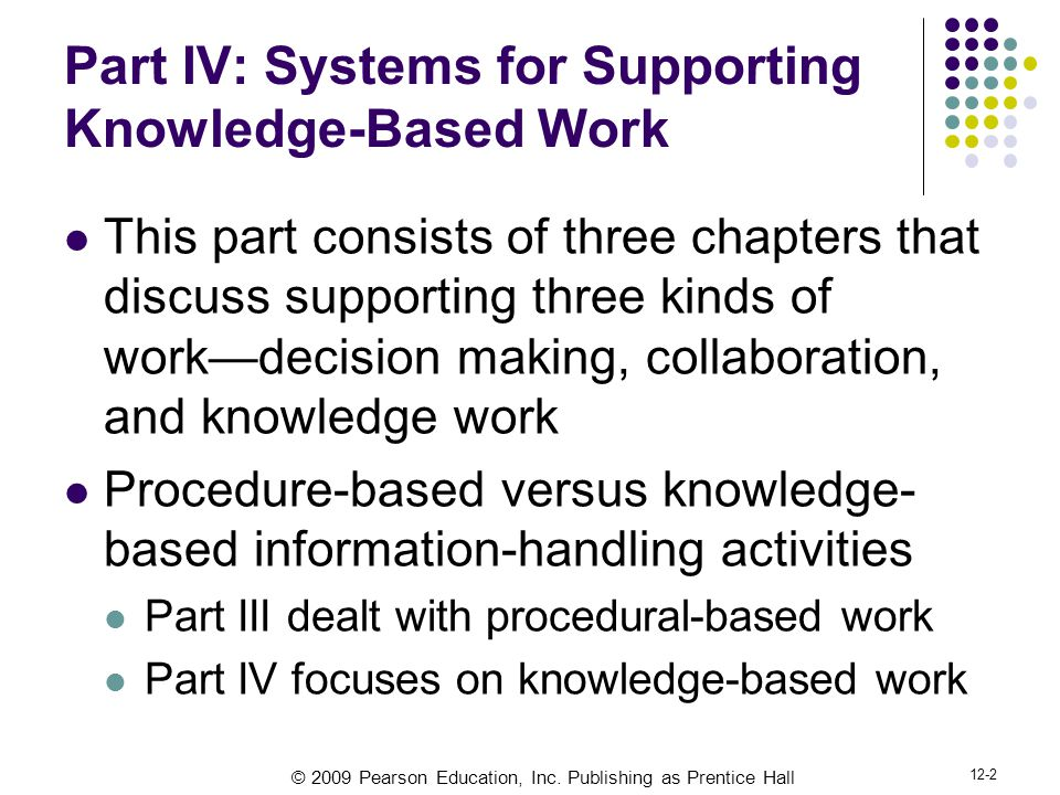 © 2009 Pearson Education, Inc. Publishing as Prentice Hall 12-2 Part IV: Systems for Supporting Knowledge-Based Work This part consists of three chapt