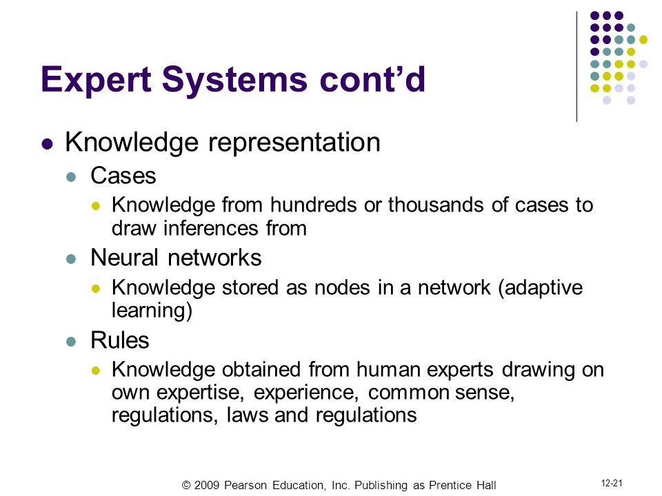 © 2009 Pearson Education, Inc. Publishing as Prentice Hall 12-21 Expert Systems cont'd Knowledge representation Cases Knowledge from hundreds or thous