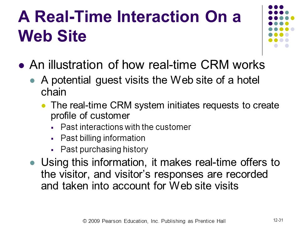 © 2009 Pearson Education, Inc. Publishing as Prentice Hall 12-31 A Real-Time Interaction On a Web Site An illustration of how real-time CRM works A po