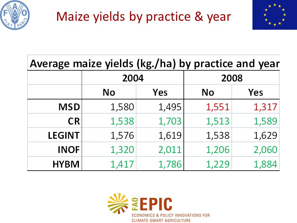 Maize yields by practice & year