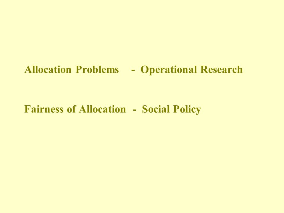 Allocation and Social Equity H.