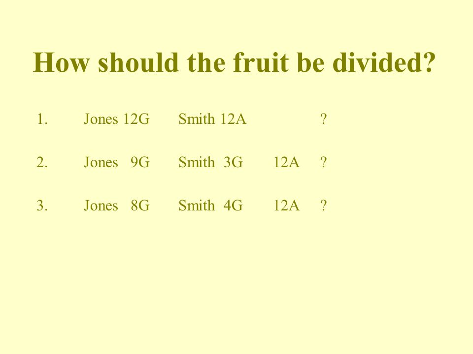 How should the fruit be divided.1.Jones 12GSmith 12A.